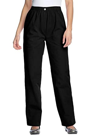 0aca4437a37 Woman Within Plus Size Petite Elastic-Waist Cotton Straight Leg Pant -  Black