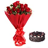 Floral Fantasy Cake and Fresh Flowers Bouquet of 12 Red Roses Bunch