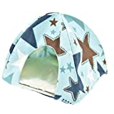 Lazynice Folding Small Pet Outdoor Tents, Washable Camping Tent Tentage for Dwarf Hamster Pet Rat Hedgehog Golden Squirrel,Gold Horn Bear (1515cm, blue sky)