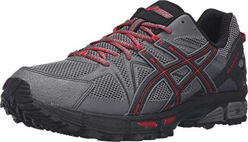 ASICS Men's Gel-Kahana 8 Trail Runner, Shark/Black/True Red, 11.5 M US T6L0N.9690
