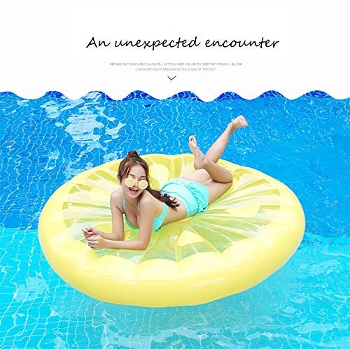 Giant Inflatable Lemon Slice Floating Row Adults Kids Summer Beach Toy Swimming Pool Party Lounge Round Raft-Yellow by WYL (Image #2)