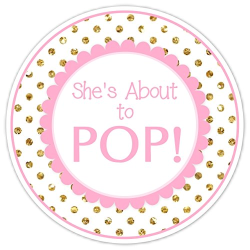 Amazon Com 12 Baby Shower Labels She S About To Pop Stickers Gold