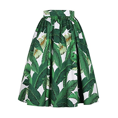 QUEENOFHOLLOW 1950 Vintage Cotton Green banana leaf a half-skirt for (Leaf Green Cotton Spandex)