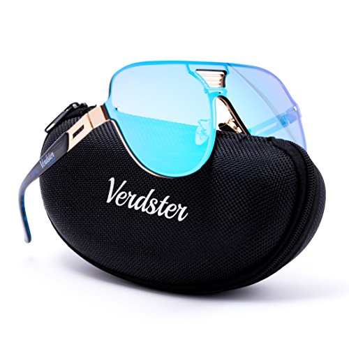 Verdster Aviator Casual Trendy Mirrored Sunglasses For Men - Custom TourDePro Lenses - Accessories Case - UV400 Protection - Oversized Shades - Great for Driving, City Walking or Just to - Cases Sunglass Custom