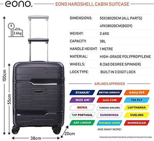 EONO Essentials Premium Shell Duro 8 Ruedas Llevar en la Mano ...