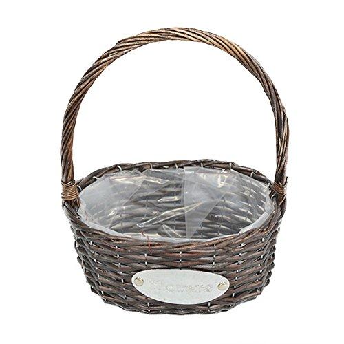 Axier Mini Willow Bleached Basket- Miniature Fairy Garden Round Fruit Baskets