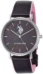 U S Polo Assn Reloj Esfera Negra Negro 215 Rosa Cuero Cuarzo