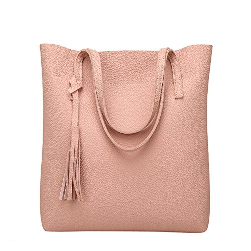 Pink Clearance Purse Totes Crossbody Simple Sale Casual Womens Leather on Handbags Purses Tassel Handle Shoulder Travel Bags Top and Handbags COOKI 1qfPRH