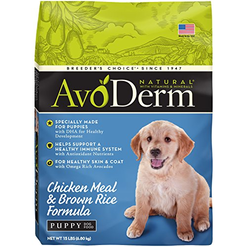AvoDerm Natural Dry Puppy Food, Chicken Meal & Brown Rice Formula, 15-Pound