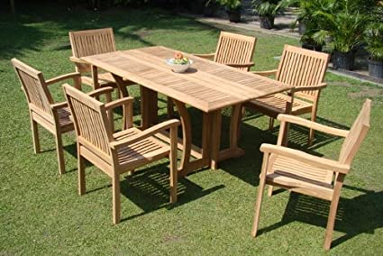 Grade A Teak Wood Luxurious Dining Set Collections 7 Pc 69 Warwick Rectangle Table And 6 Leveb Stacking Arm Chairs Tsdslv5