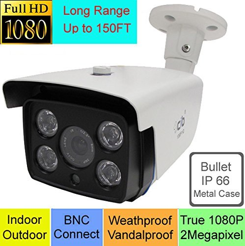CIB 2 x True HD-TVI 1080P 2.1Megapixel HD Vandal Bullet Cameras, Long Range up to 150FT, BNC Connect Type. Connect to HD-TVI Security DVR System Only. - T80P0856-150W-2