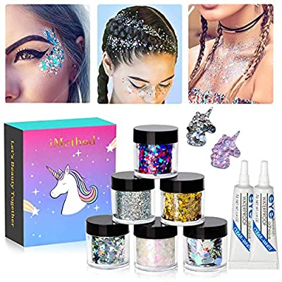 Holographic Chunky Body Glitters Set - 6 Jars iMethod Cosmetic Glitters Flakes with 2 Eyelash Adhesive, for Festival Face Makeup, Body, Hair, Nail and other Occasions