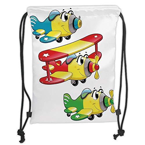 Custom Printed Drawstring Backpacks Bags,Kids Boys and Girls Room Decor,Airplanes Plane Jet Cartoon Aircraft Flying Childrens Decor Decorative, Soft Satin,5 Liter Capacity,Adjustable String ()