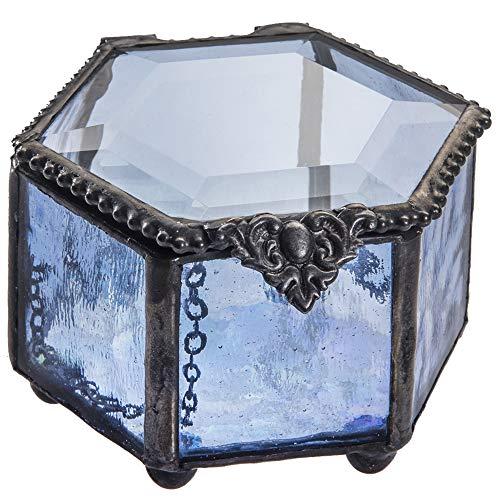 J Devlin Box 850 Hexagon Blue Glass Box Jewelry Keepsake Trinket Box