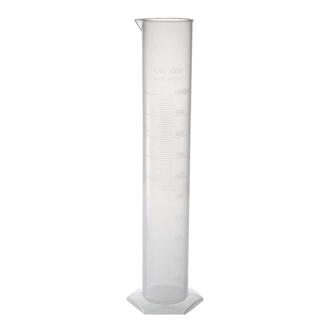 sourcingmap 1000ml Laboratory Measurements Clear White Plastic Hex Base Graduated Cylinder for Chemical Measuring