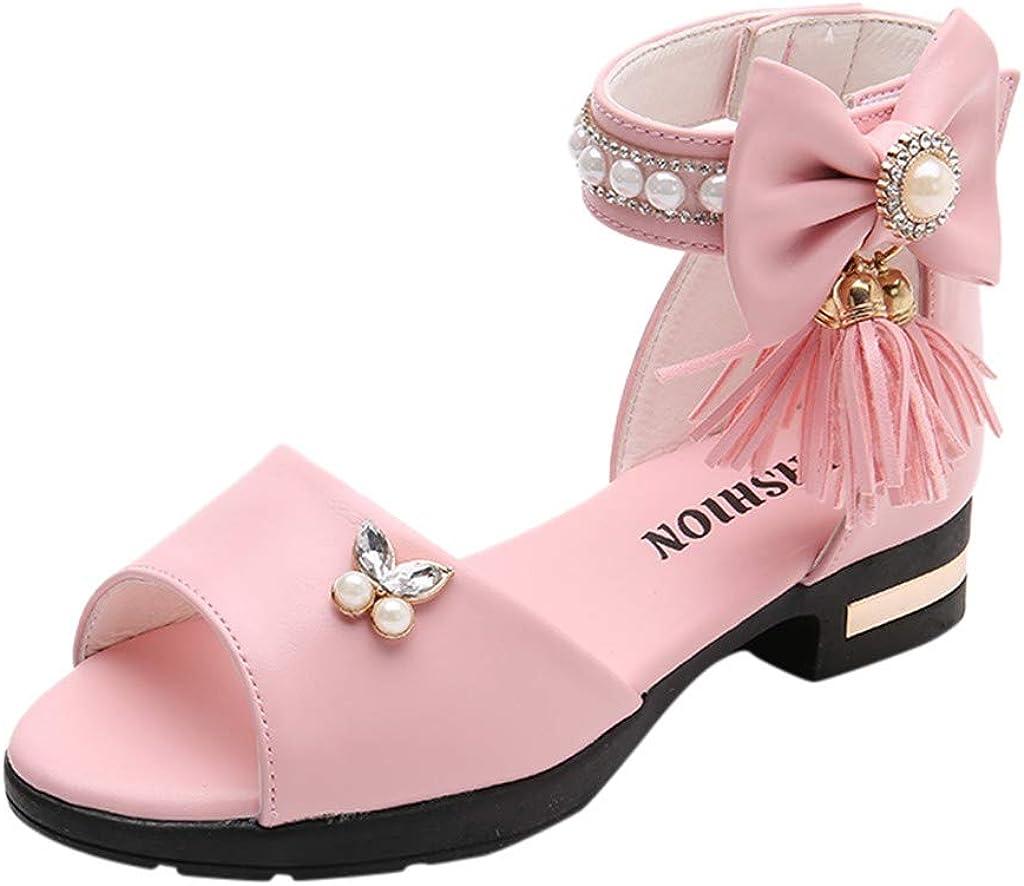 Sandalias niña,ZARLLE Zapatos bebés Niños Sandalias de Verano para niñas Chica Fringe Roma Bowknot Cristal Princesa Individual Sandalias Zapatos Princesa Calzado