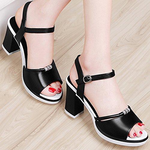 SHOESHAOGE Sandalias Calzados Femeninos Blanco con Negrita, Cómodas, con Boca De Pescado Ranurados Los Zapatos De Tacón Alto EU35/UK8