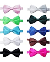 TOPTIE Mens Tuxedo Bowtie Adjustable Neck Bow Tie 10pc Mixed Lot Solid Color