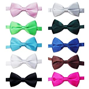 TOPTIE Mens Tuxedo Bow Tie Adjustable Neck Bowtie 10pc Mixed Lot Solid Color