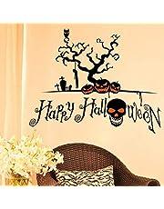 ملصقات الحائط بتصميم جمجمة سوداء Happy Halloween اصنعها بنفسك تصميم فانوس اليقطين هالوين ديكور ملصق حائط جميل