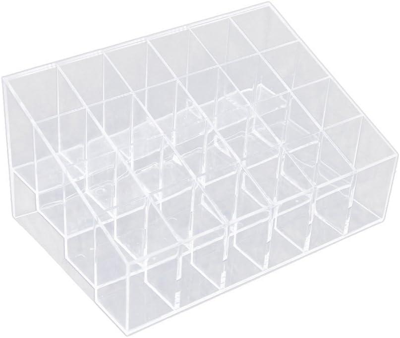Estuche de soporte para pintalabios, caja de joyería, organizador de maquillaje, caja de almacenamiento, máscara, soporte para cosméticos, caja de plástico para almacenamiento en casa 24 grids