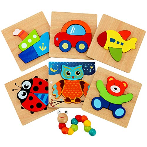 Word Puzzles For Halloween (Wooden Jigsaw Puzzles for Toddlers - Jaolex Animal & Vehicle Jigsaw Puzzles for 1 2 3 Years Old Boys & Girls Educational Toys [ 6 Pack)