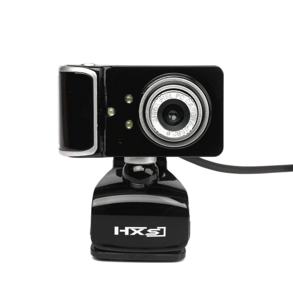 TFXHGGM Caméra Web USB HD Webcam 3 LED avec microphone Clipon pour ordinateur de bureau blanc (Color : White)