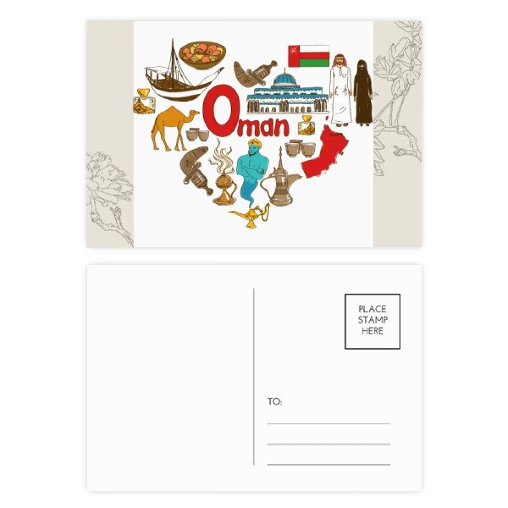 Oman Love Heart Landscap National Flag Flower Postcard Set Thanks Card Mailing Side 20pcs
