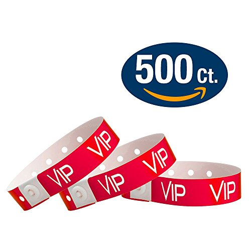 WristCo Neon Red VIP Plastic Wristbands - 500 Pack Wristbands For Events