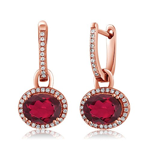 Red Quartz Earrings - 4.44 Ct Oval Red Mystic Quartz 18K Rose Gold Plated Silver Dangle Earrings