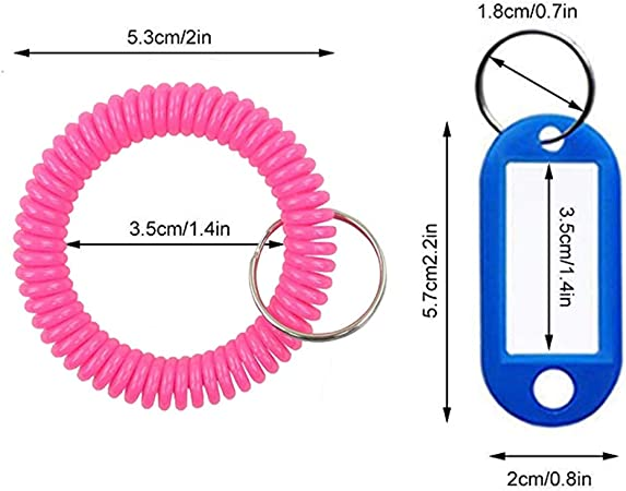 Stretch Elastic Spiral Bracelet Key Ring Chain for Gym 30 pcs Plastic Coil Wristband Keychains and Outdoor Sports, Multi-Colors /&10 pcs Key Tags Pool 30PCS-15 Mixed Color