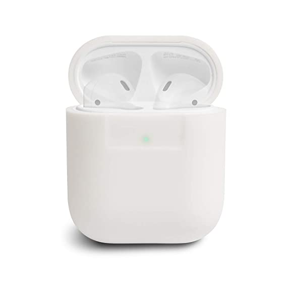 new arrival 73874 ad72d elago AirPods Silicone Case [White] - [Compatible with Apple AirPods 1 & 2;  Front LED Visible][Supports Wireless Charging][Extra Protection] for ...