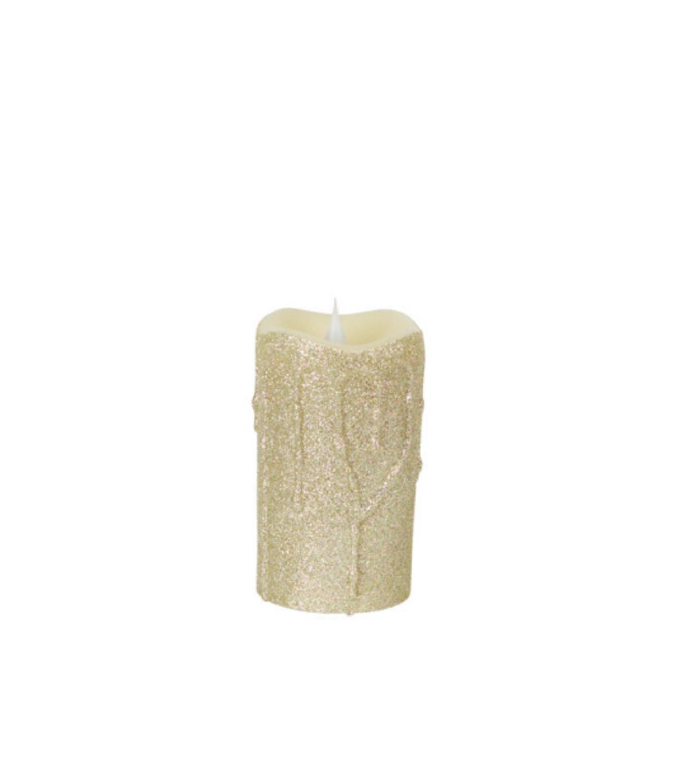 Pack of 4 Pewter Glittered Dripping Wax Flameless LED Lighted Pillar Candles with Timers 5''