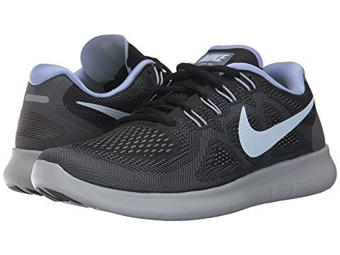 NIKE Women's Free RN 2017 Running Shoe (5 B(M) US, Black/Hydrogen Blue/Dark Grey-Wolf Grey) ()