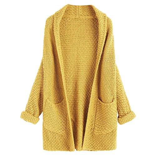 DEZZAL Women's Casual Open Front Curled Sleeve Batwing Chunky Knit Cardigan (Mustard) (Curled Mustard)