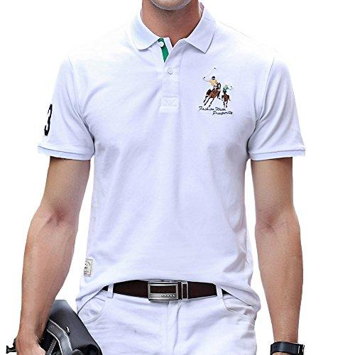 金属レポートを書くガジュマルポロシャツ メンズ ゴルフウェア 半袖 コットン 鹿の子 通気性良い 刺繍 ストレッチ 二重衿 軽量 通気性良い