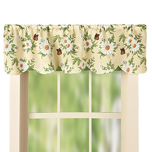 Daisy and Butterfly Green, White and Cream Scalloped Window Curtain Valance with Rod Pocket Top, 58