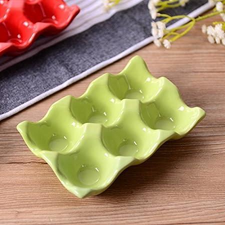 zur Aufbewahrung im K/ühlschrank gelb Keramik-Eierbox f/ür 6 Eier keramik