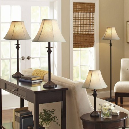 -leather shade Lamp includes 1 floor lamp, 1 accent lamp and 2 table lamps - Set of 4 ()