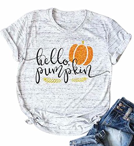 Halloween Pumpkin Costume Fun Tees Women's Letters Print Short Sleeve T-Shirt Tops Size XL (Light Grey)]()