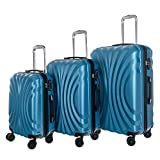 WhalePassing hardshell suitcase with TSA lock and super spinner, 3 piece luggage set (Blue-Wave)