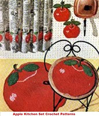 Crochet Patterns On Amazon : Amazon.com: Apple Kitchen Set Crochet Pattern - Crochet an Apple Rug ...