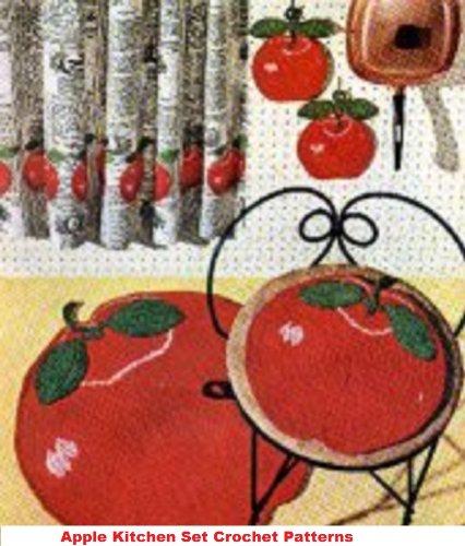 Apple Kitchen Set Crochet Pattern - Crochet an Apple Rug, Stool Covers and Potholders Patterns