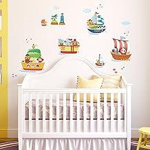 Decowall DA-1506A Animal Ships peel & stick Nursery wall decals stickers