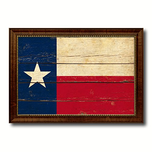 Texas Vintage Photo (Texas Vintage Flag Canvas Print Brown Picture Frame Home Decor Wall Art Gifts -)