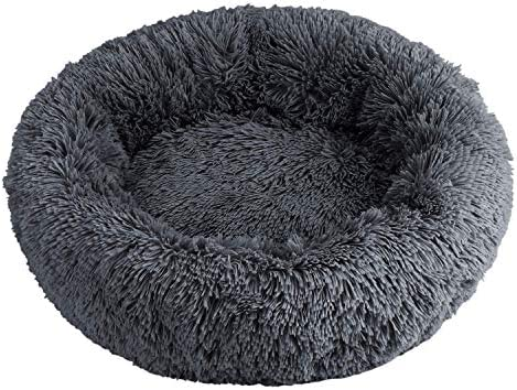 XZKING Dog Calming Bed, Donut Cuddler Round Dog Bed Ultra Soft Washable Dog and Cat Cushion Bed