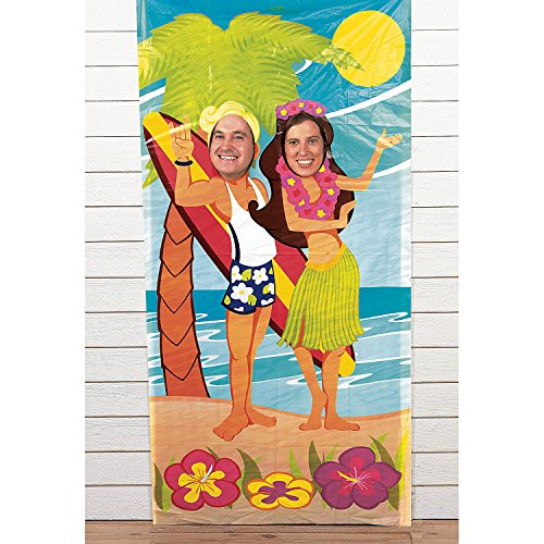 Fun Express Luau Couple Face Photo Door Banner Poster Party Decor (2-Pack) (Face Posters)