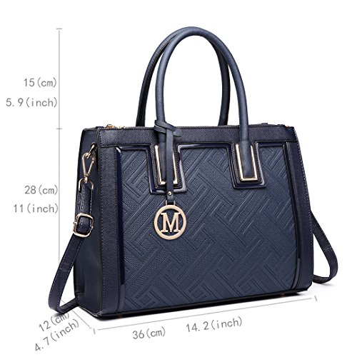 Navy PU tout multifonction texturé féminin sac grande élégant de sac Miss sac main Lulu fourre à bureau cuir ZSUWaOT4P