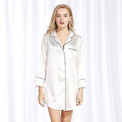 Pijamas De Señora Simulación De Seda Señora Sexy Camisón Camisa De Seda De Verano Pijama De