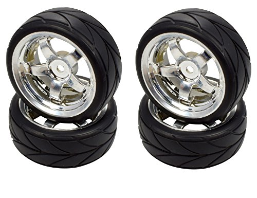 Apex RC Products 1/10 On-Road 12mm Chrome 5 Spoke Wheels V Tread Rubber Tires (Set of 4) #5005 ()